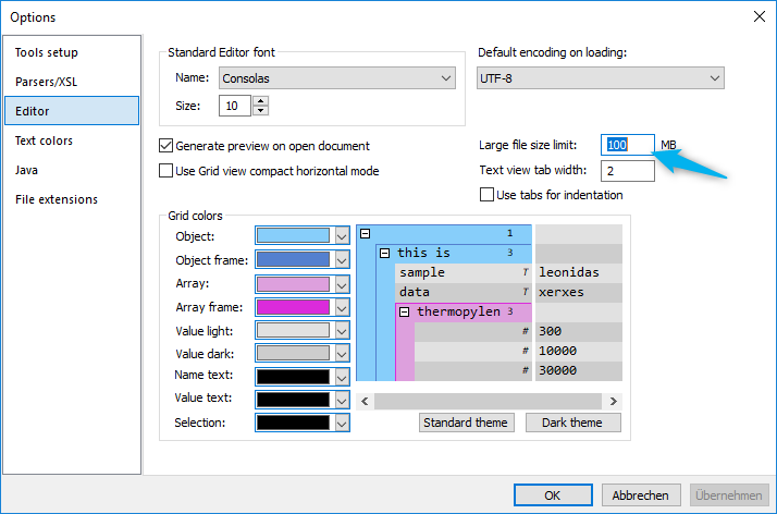 Option to set the limit for the Large File view