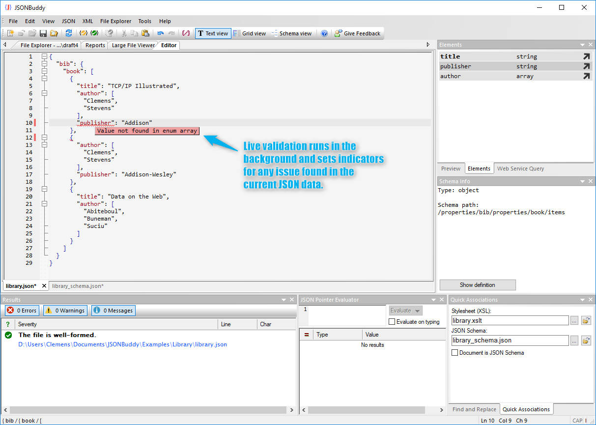 JSON validator runs in the background in the editor