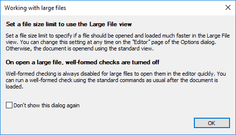 Info dialog on opening a large file