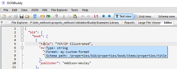 library example with custom format definition