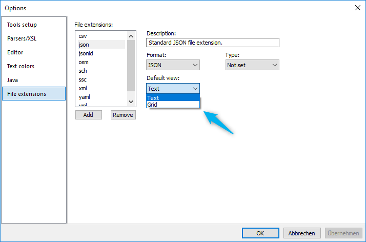 Setting the default view for JSON documents