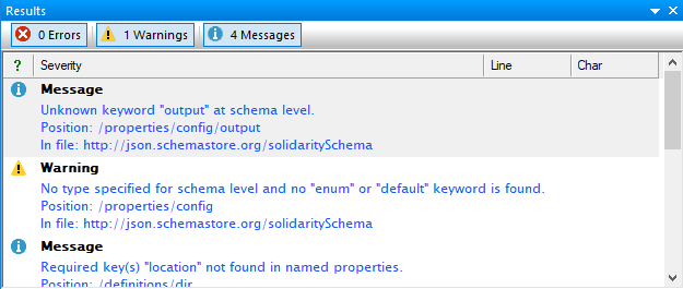 JSON schema analyzer results