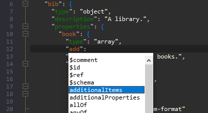 JSON schema editor features