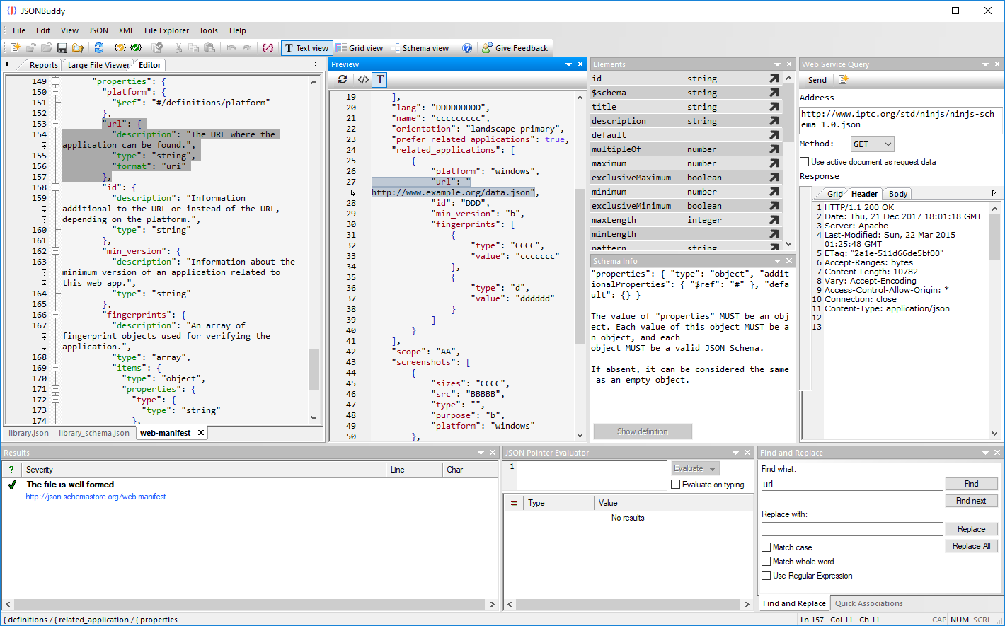 JSON schema editor for Windows